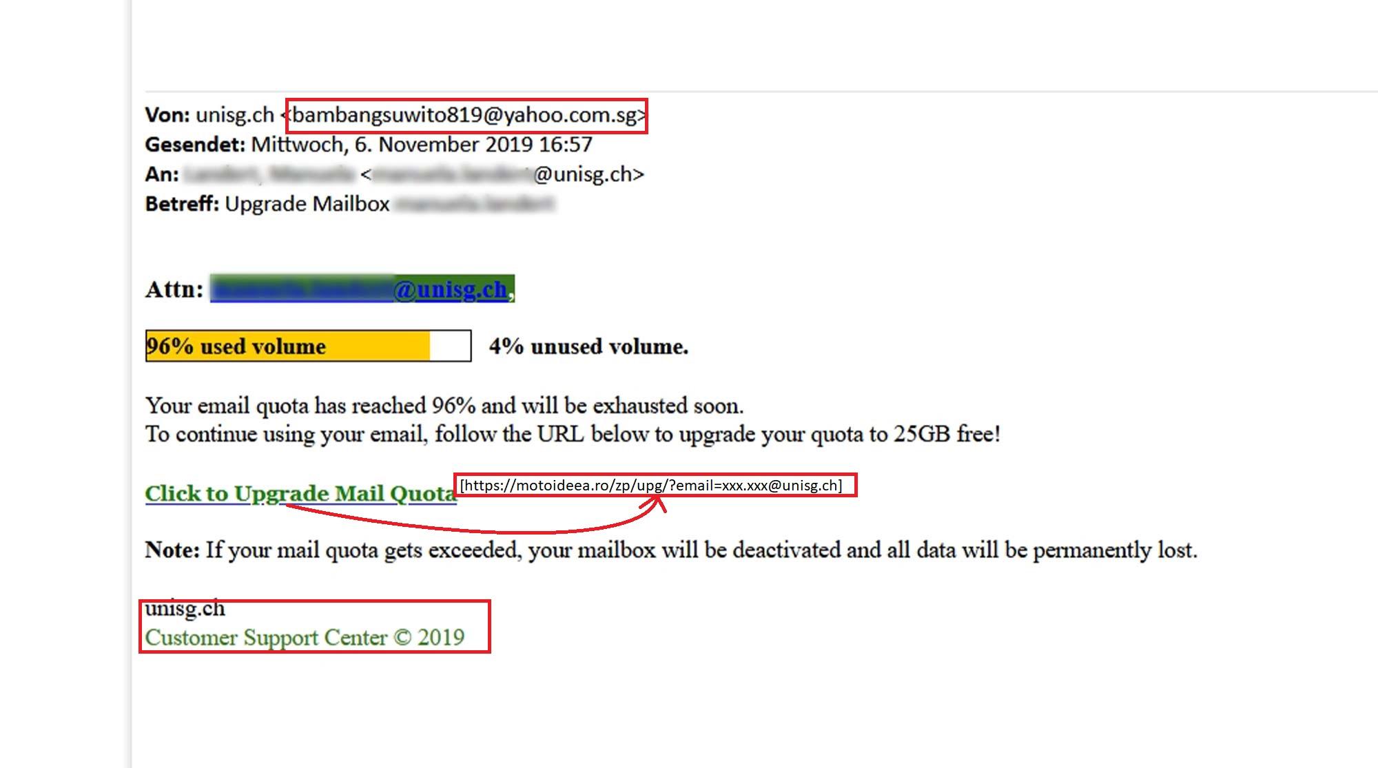 Mailquota Spammeldung